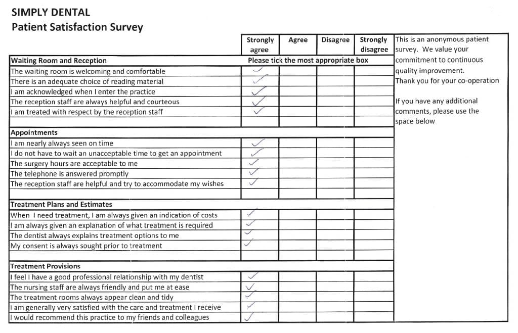 Patient Satisfaction Survey Forms Soni Dental Implants